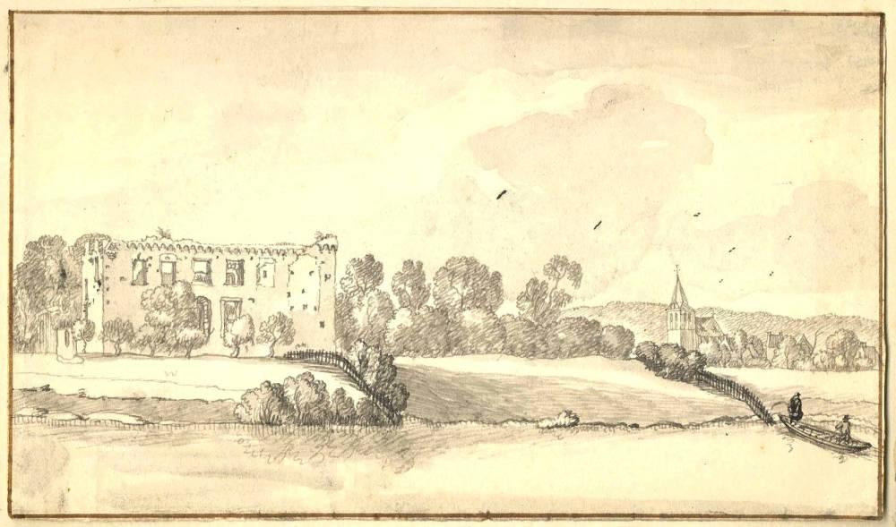 Ru�ne Kasteel Middelaar in Middelaar. Tekening Jan de Beijer, 1746